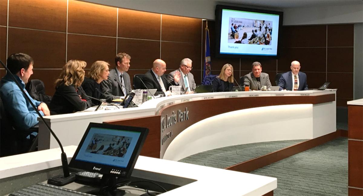 St. Louis Park Climate Action Plan (city council meeting pictured)