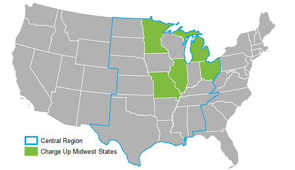 A map of Charge Up Midwest states
