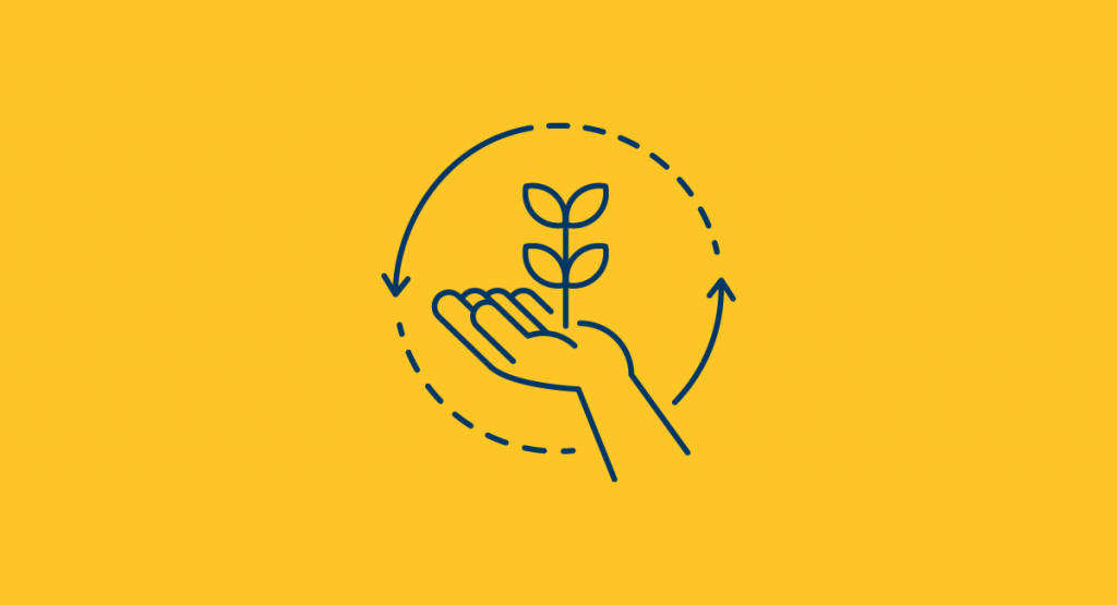 Graphic of hand with plant growing
