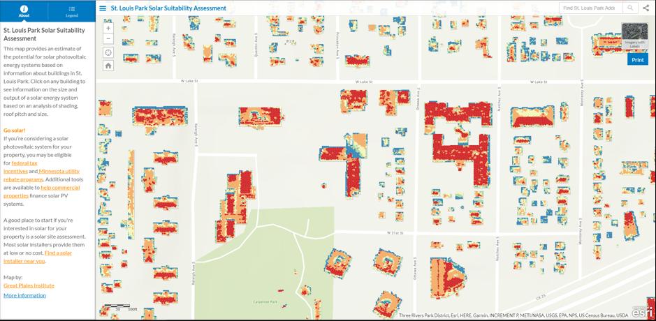 Screenshot from the St. Louis Park Solar Assessment Tool