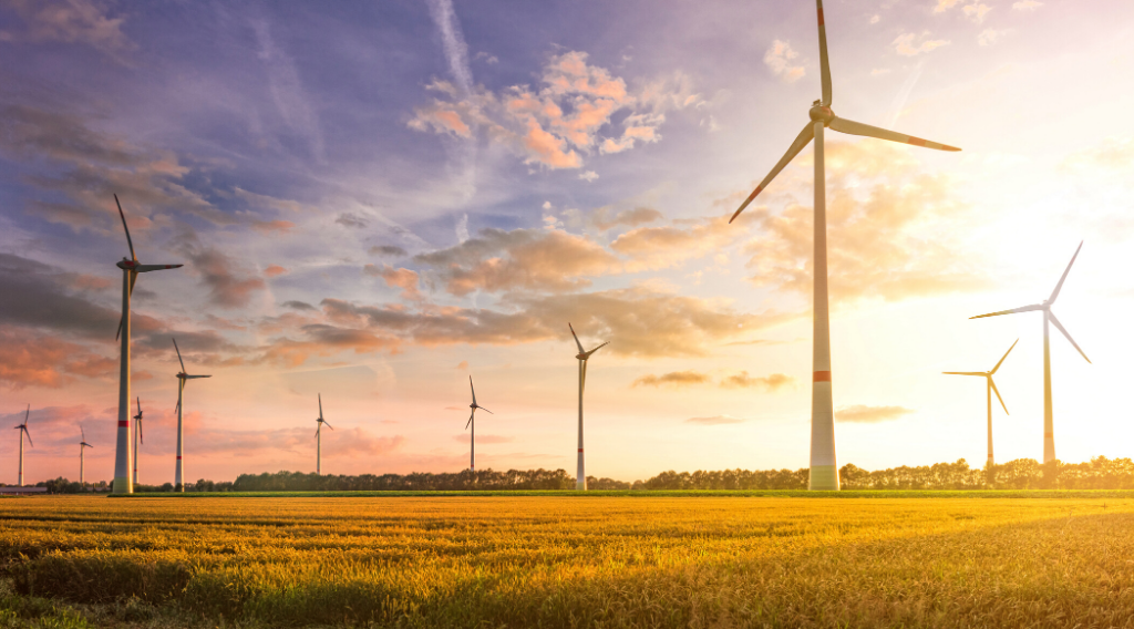 Wind turbines and farmland