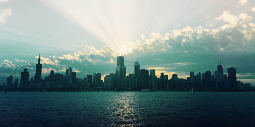 Chicago, over the lake