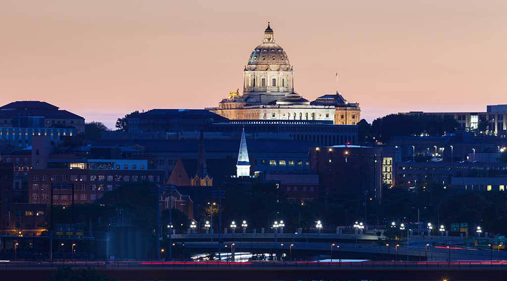 A view of the Minnesota State Capitol in the evening