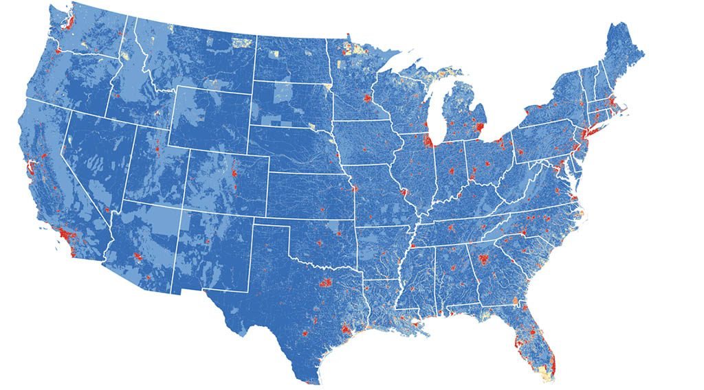 A map of the US showing carbon capture potential