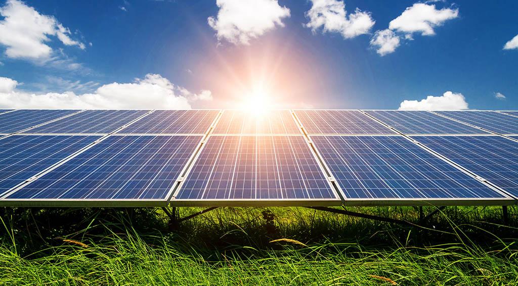 The sun shining over solar panels