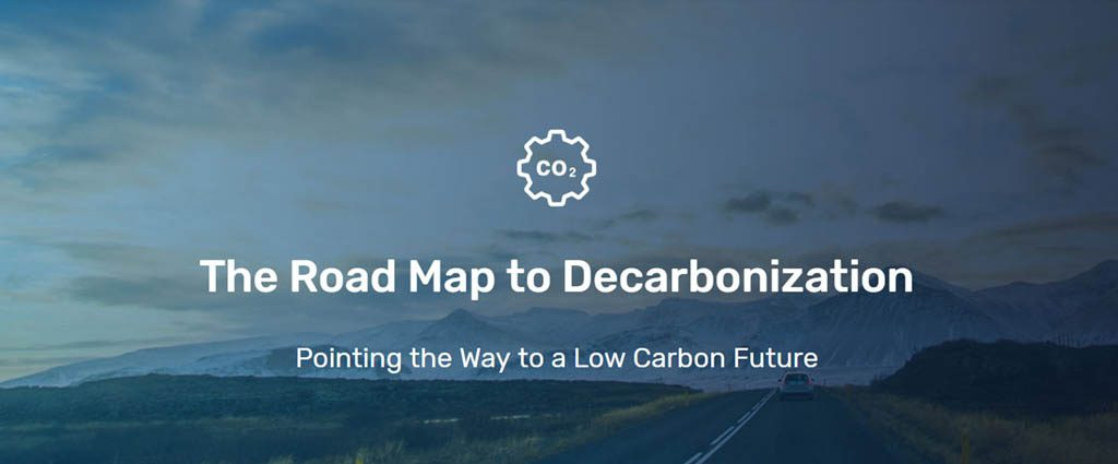 "an image of a road with""The Roadmap to Decarbonization"" written on top"
