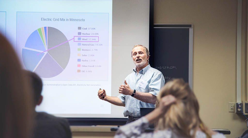 A man making a presentation about renewable energy procurement