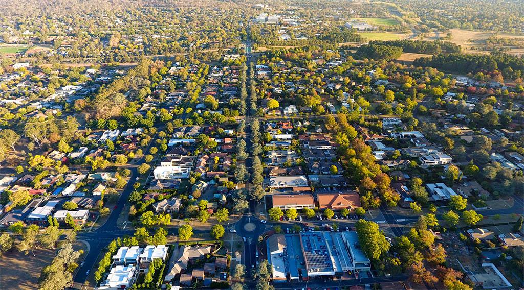 An arial view of a neighborhood