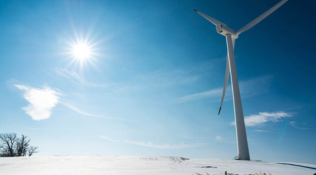 Wind turbine in the winter