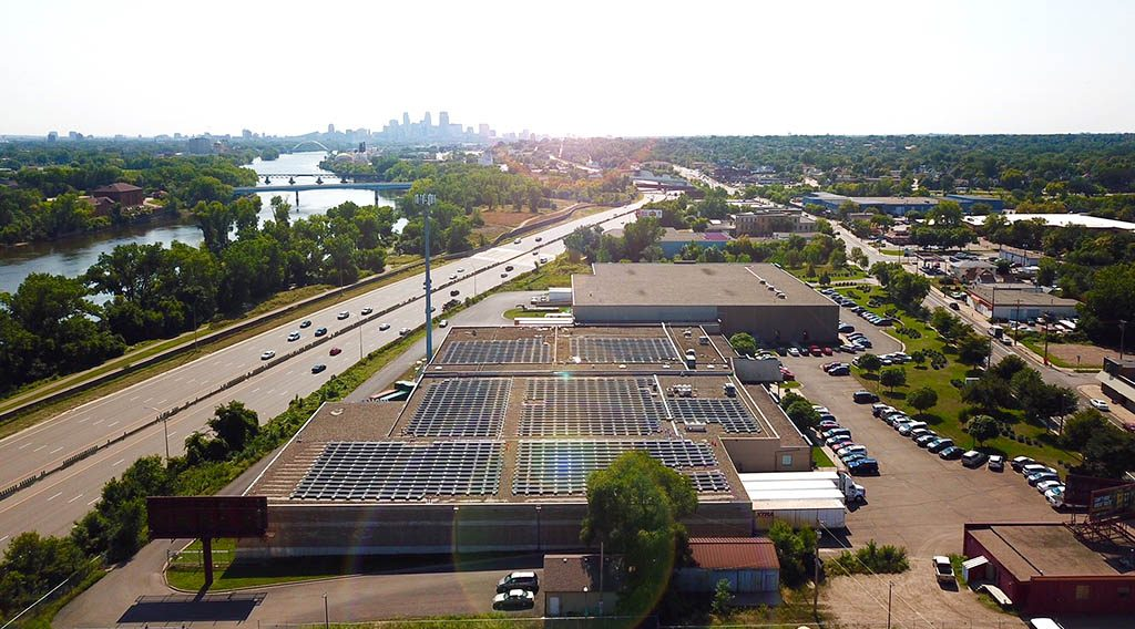 An aerial view of rooftop solar in Minneapolis, Minnesota