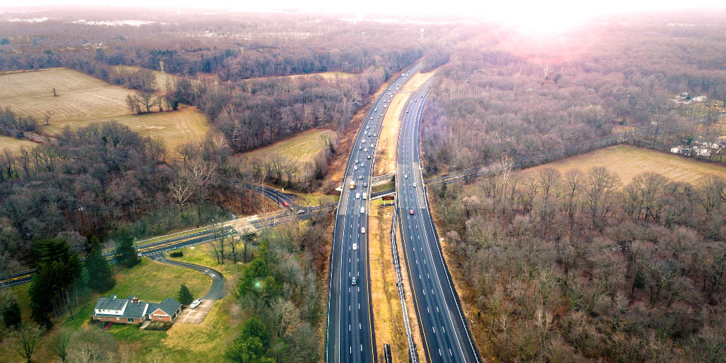 A view from above of a midwestern road