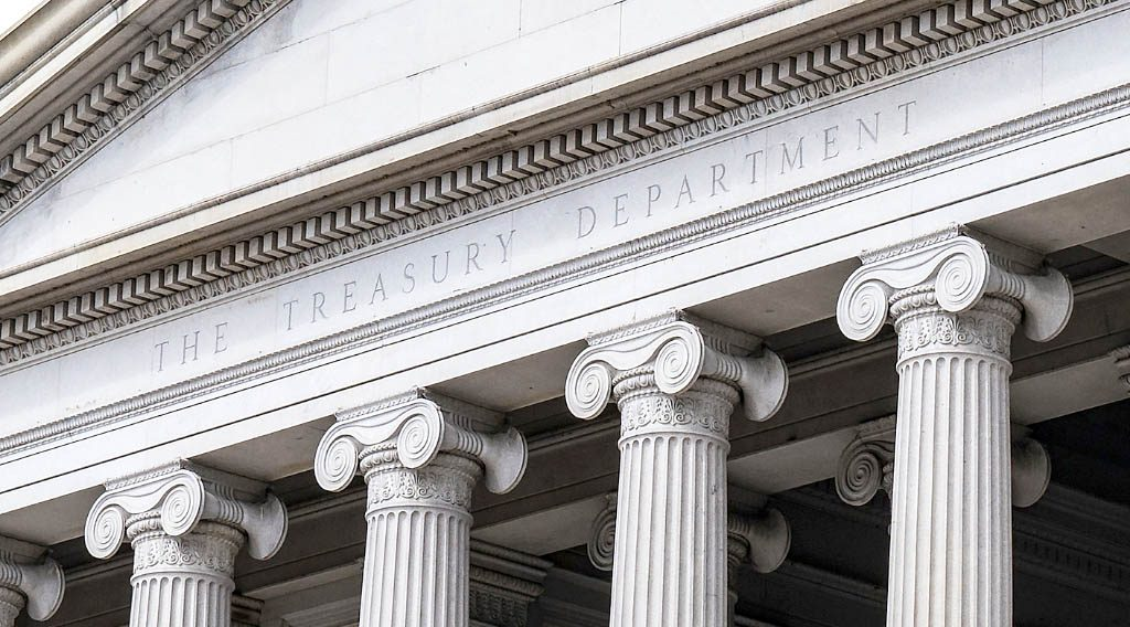 Columns and facade of the US Treasury