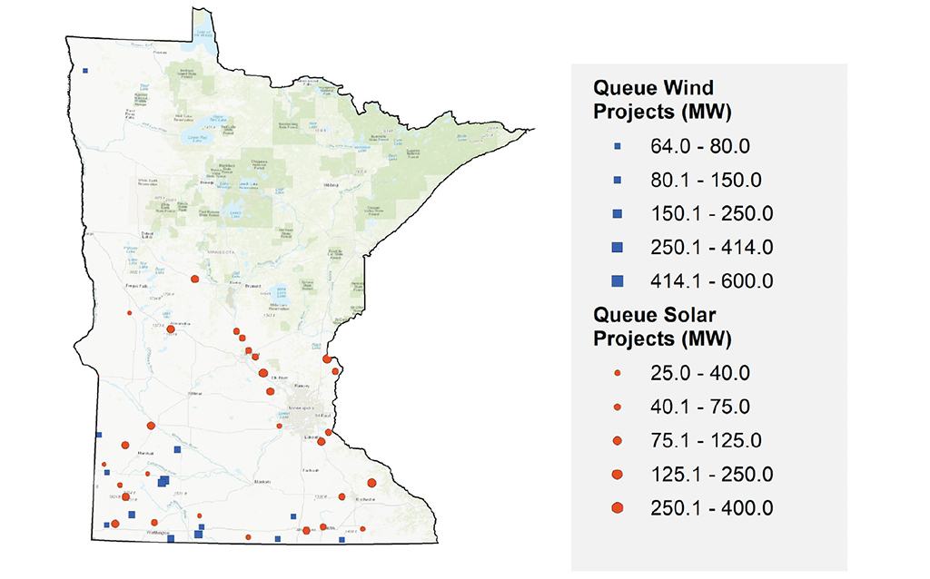 MISO Queue Wind and Solar Projects in Minnesota