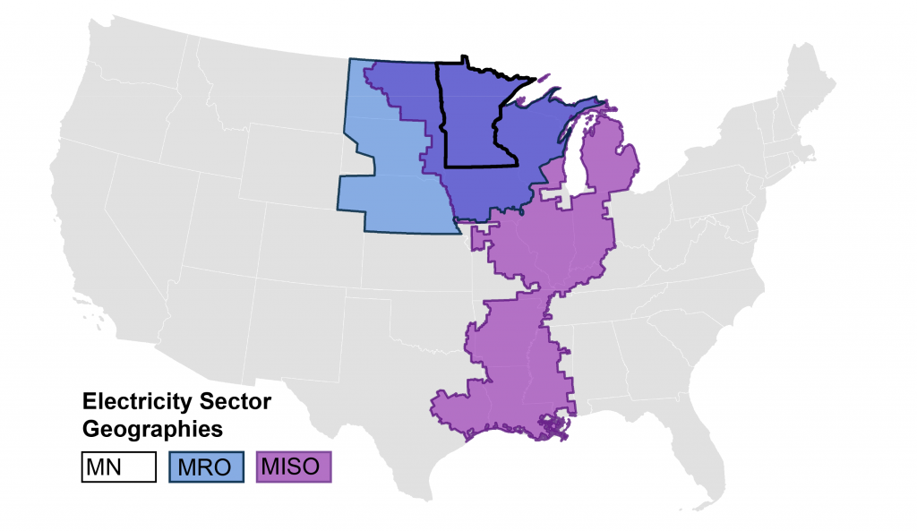 A map of the MRO and MISO regions