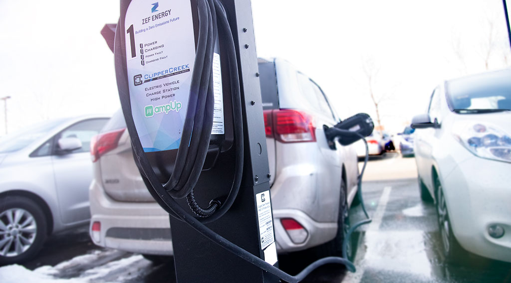 An electric vehicle charger outside the Greenway building in Minneapolis, MN