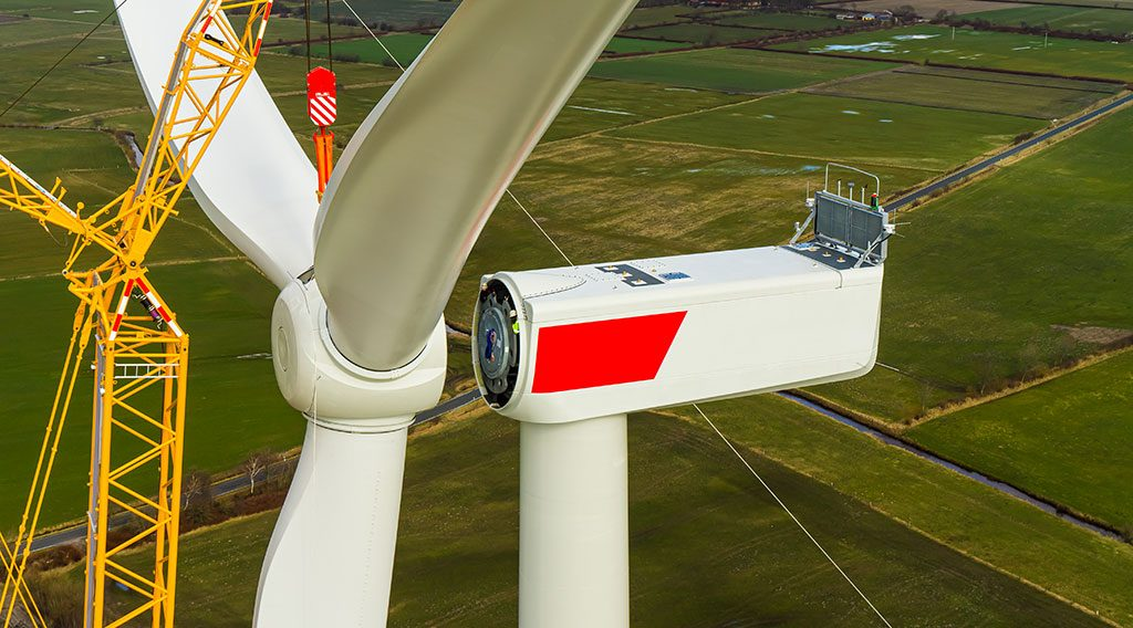 A wind turbine being built